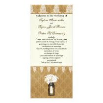 daisies in mason jar, burlap wedding program