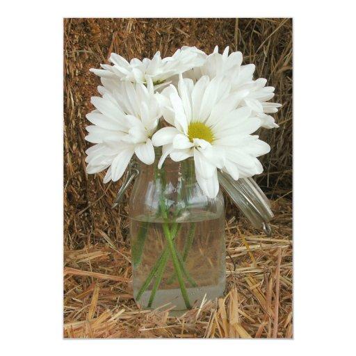 Daisies In Mason Jar  Hay - Country / Barn Wedding 5x7 Paper Invitation Card