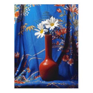 Daisies In Orange Vase Postcard