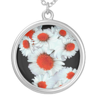 Daisies in Red Silver Plated Necklace