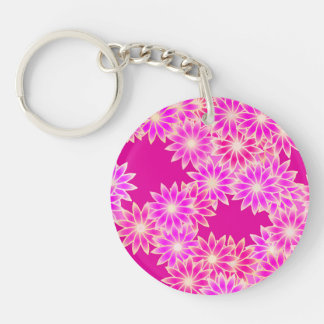 Daisies in shades of pink and orchid keychain