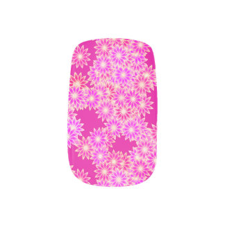Daisies in shades of pink and orchid minx nail wraps