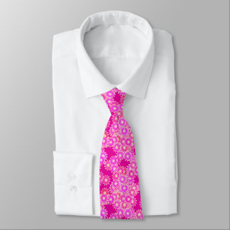 Daisies in shades of pink and orchid neck tie