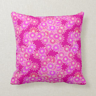 Daisies in shades of pink and orchid throw pillow