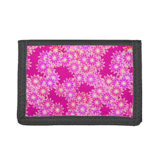Daisies in shades of pink and orchid trifold wallet