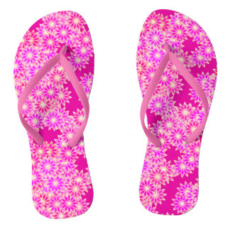Daisies in shades of pink and plum flip flops