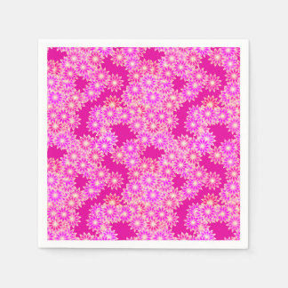Daisies in shades of pink and plum paper napkin