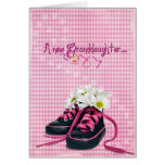 daisies in sneaker for new granddaughter greeting card