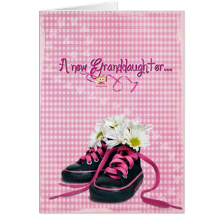 daisies in sneaker for new granddaughter card