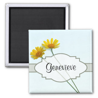 Daisies in the Sky Nametag 2 Inch Square Magnet