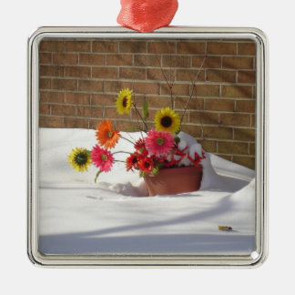 Daisies In The Snow Metal Ornament