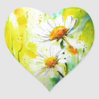 Daisies in the Summer Heart Sticker