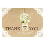 Daisies Lace Kraft Modern Rustic Thank You Card