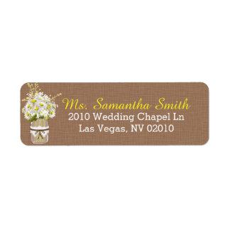 Daisies Lace Mason Jar Wedding Labels