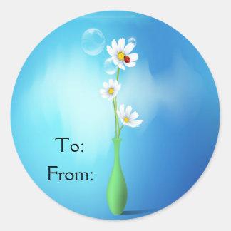 Daisies & Ladybug In A Vase Classic Round Sticker
