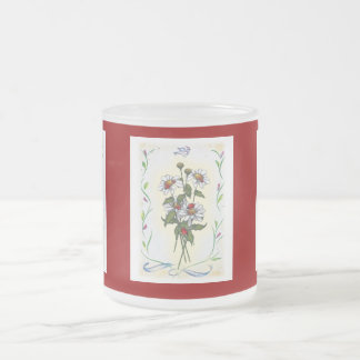 Daisies, Ladybugs: Floral Illustration: Red Yellow Frosted Glass Coffee Mug