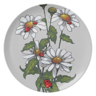 Daisies, Ladybugs, Ladybirds; Original Art: Nature Dinner Plate