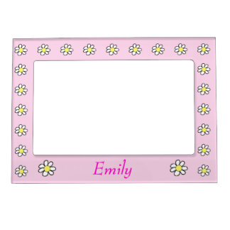 Daisies on a Pink Background Picture Frame Magnet