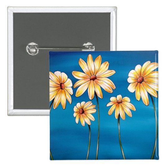 Daisies on Blue Button