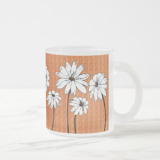 Daisies on Blue Frosted Glass Coffee Mug