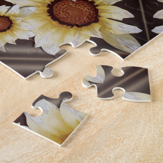 Daisies on brown jigsaw puzzle