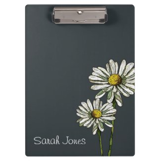 Daisies on Deep Blue: Original Art, Personalize Clipboards