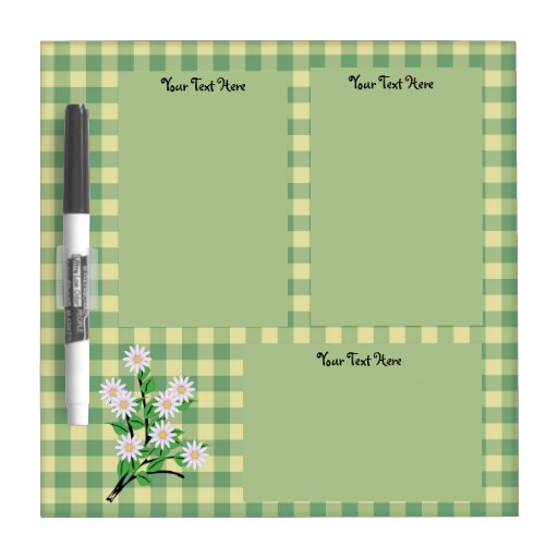 Daisies on Green and Yellow Gingham Dry Erase Whiteboard