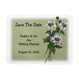 Daisies on Green: Save The Date: Floral Art Magnet
