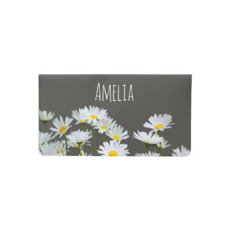 Daisies on Grey Checkbook Cover