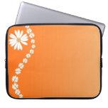 Daisies On Orange Laptop Computer Sleeve