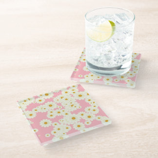 Daisies on pink glass coaster
