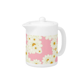 Daisies on pink teapot