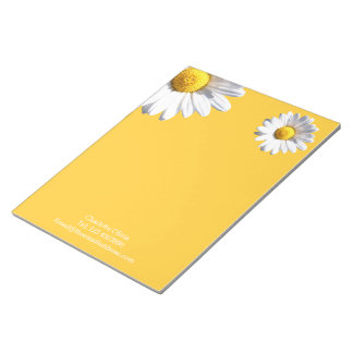Daisies On Yellow Background Personalized Notepad