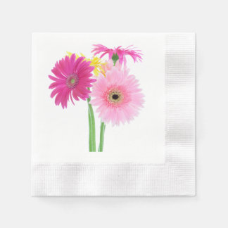 Daisies Pink Paper Napkins