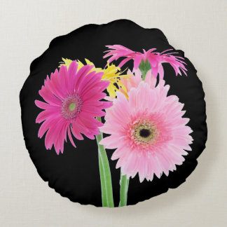 Daisies Pink Round Pillow