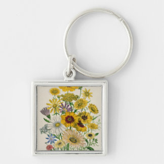 Daisies, plate 31 from 'The Ladies' Silver-Colored Square Keychain