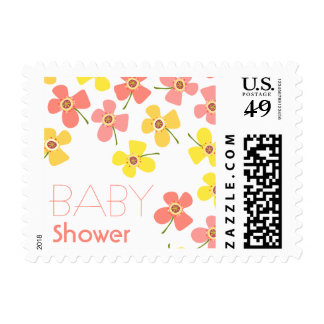 Daisies Pop Sweet Pink Girl Baby Shower Stamps