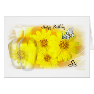 Daisies Reflected Happy Birthday Sis Card