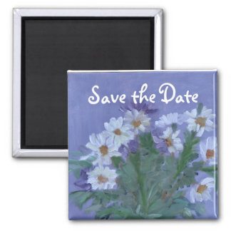 Daisies Save the Date 2 Inch Square Magnet