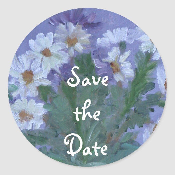 Daisies Save the Date Classic Round Sticker