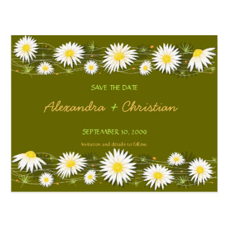 Daisies Save the Date Wedding Announcement 2 Card