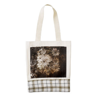 Daisies, Sepia, Grunge Zazzle HEART Tote Bag