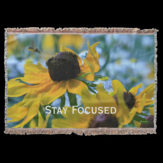 Daisies Stay Focused Quote Throw Blanket