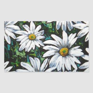 daisies rectangle stickers