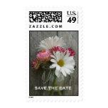 Daisies, Strawflowers, & Barnwood Save The Date Postage Stamp
