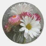 Daisies & Strawflowers in a Jar & Barnwood Sticker