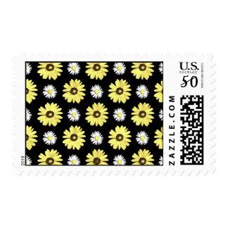 Daisies White Yellow on Black Stamp