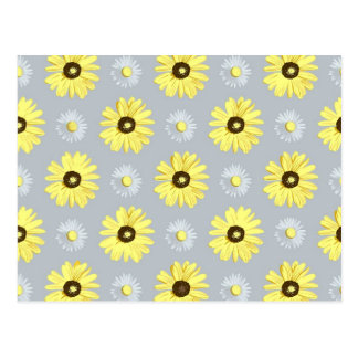 Daisies White Yellow on Light Grey Postcard