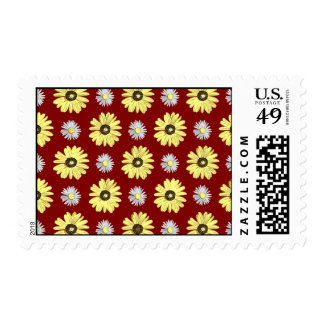 Daisies White Yellow on Pomegranate Red Stamp