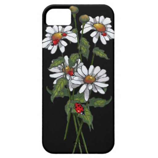 Daisies with Ladybugs on Black: Artwork iPhone 5 Case
